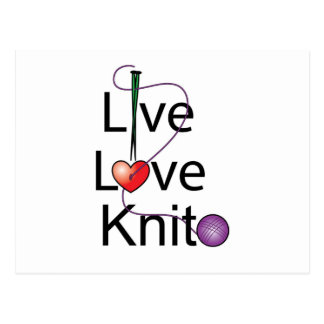 Live Love Knit Postcard