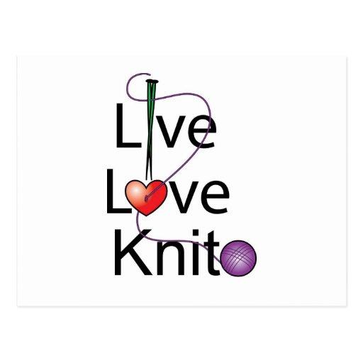 Live Love Knit Post Card
