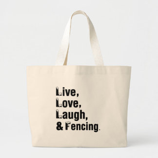 Live Love Laugh And Fencing Jumbo Tote Bag