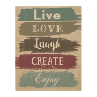 LIVE LOVE LAUGH CREATE ENJOY Typography Art