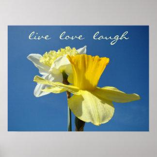 Live Love Laugh Decorative art Spring Daffodils Poster