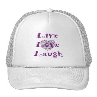 Live, Love, Laugh Floral Heart Cap