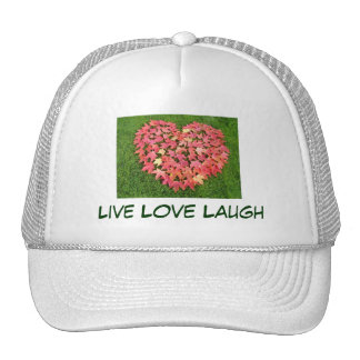 Live Love Laugh hats Red Heart Leaves
