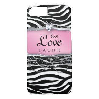 Live Love Laugh iPhone 7 case Cover Zebra Pink Hea