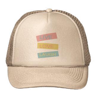 Live love laugh motivational graphic design mesh hat