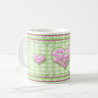 Live, Love, Laugh Mug - Pink Calico Hearts