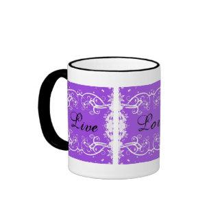 """Live, Love, Laugh"" on purple swirls Coffee Mug"