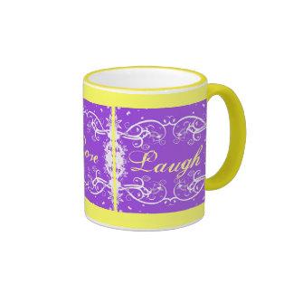 """Live, Love, Laugh"" on purple swirls Coffee Mugs"