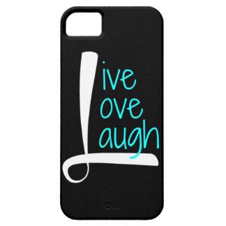 Live Love Laugh phone, White & Aqua on Black iPhone 5 Case
