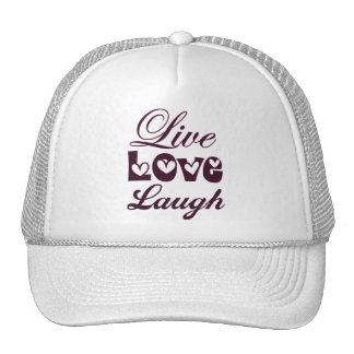 Live Love Laugh Pink Damask Pattern Mesh Hat