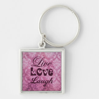 Live Love Laugh Pink Damask Pattern Silver-Colored Square Key Ring