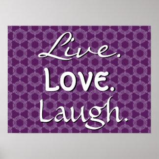 Live Love Laugh Purple Retro Pattern 012 Poster