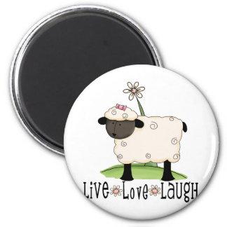 live-love-laugh-sheep 6 cm round magnet