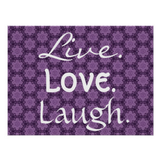 Live Love Laugh with Purple Stars Pattern 002 Poster