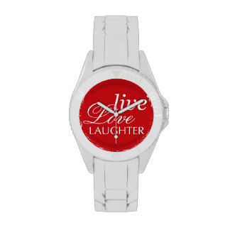 Live Love Laughter red white inspirational quote Wristwatches