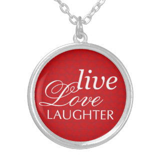 Live love laughter words red heart pendants