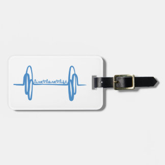 Live Love Lift Doodle Blue Luggage Tag