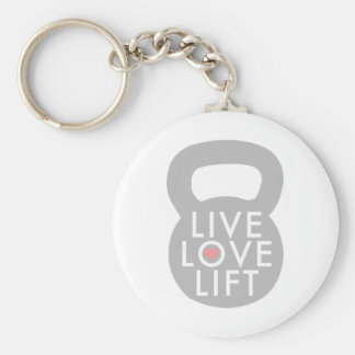 Live Love Lift in Grey Basic Round Button Key Ring