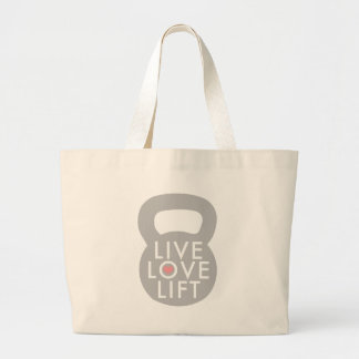 Live Love Lift in Grey Large Tote Bag