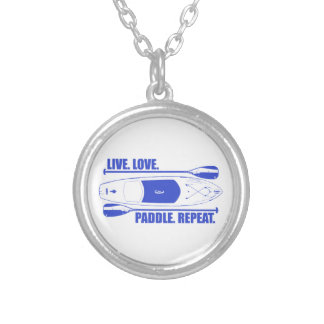 Live Love Paddle Repeat Silver Plated Necklace