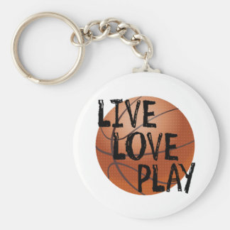 Live, Love, Play Basketball Basic Round Button Key Ring