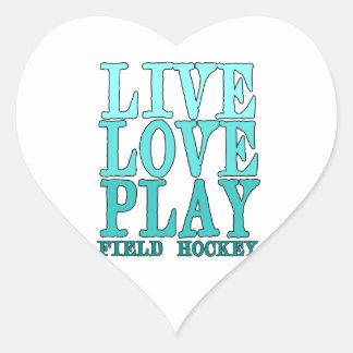 Live, Love, Play - Field Hockey Heart Sticker