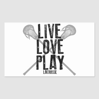 Live, Love, Play Lacrosse Rectangular Sticker