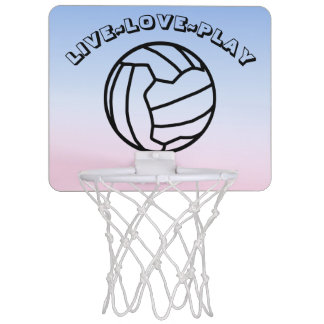 Live Love Play Netball Ball and Heart Print Mini Basketball Hoop