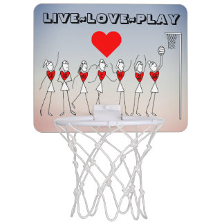 Live Love Play Netball Quote and Heart Print Mini Basketball Hoop