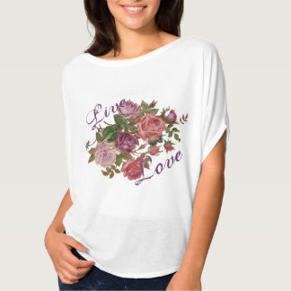 Live Love Pretty Purple Floral Roses T Shirts