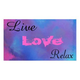 Live Love Relax. Ethereal Blue Abstract Pack Of Standard Business Cards