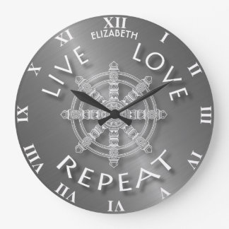 Live Love Repeat Buddhist Samsara Dukkha Karma Large Clock