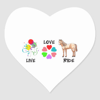 LIVE LOVE RIDE HEART STICKER