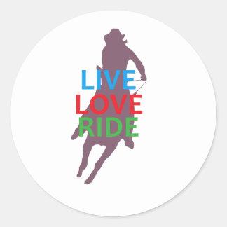 LIVE LOVE RIDE ROUND STICKER