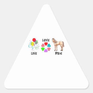 LIVE LOVE RIDE TRIANGLE STICKER