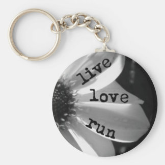 Live Love Run by Vetro Jewelry and Designs Basic Round Button Key Ring