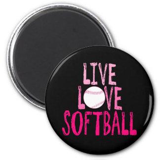 Live, Love, Softball 6 Cm Round Magnet
