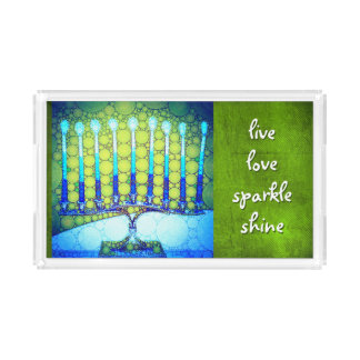"""Live love sparkle"" blue Hanukkah menorah photo Acrylic Tray"