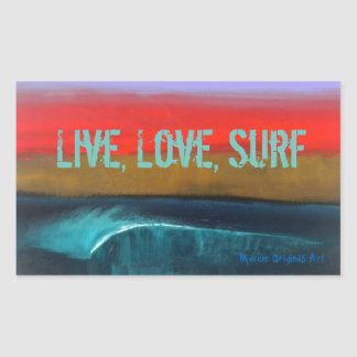 Live, Love, Surf stickers by Marene Originals Art