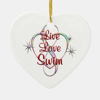 Live Love Swim Ceramic Heart Decoration
