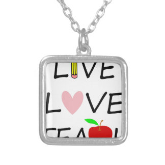 live love teach2 silver plated necklace