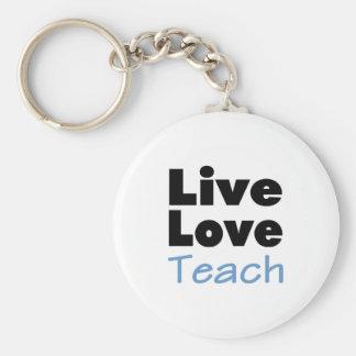 Live Love Teach (blue) Key Ring