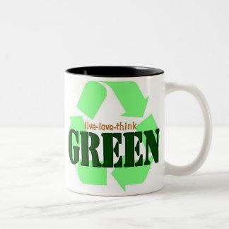 Live-Love-Think GREEN Two-Tone Coffee Mug