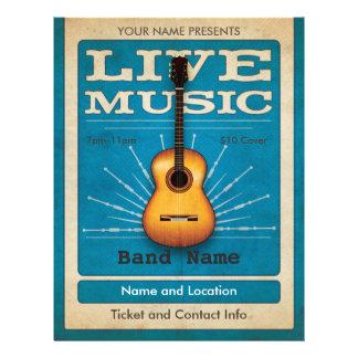 Live Music Acoustic Guitar Flyer Blue
