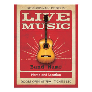 Live Music Acoustic Guitar Flyer Red