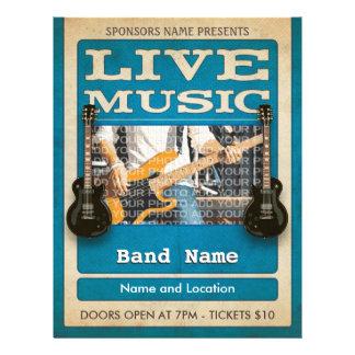 Live Music Band Photo Blue 21.5 Cm X 28 Cm Flyer