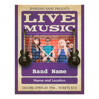 Live Music Band Photo Purple 21.5 Cm X 28 Cm Flyer