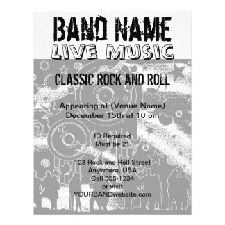 Live Music Concert Party Band 21.5 Cm X 28 Cm Flyer
