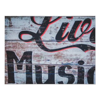 Live Music Shabby Chic Sign Poster