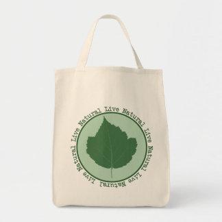 Live Natural Green Leaf Organic Tote Bag